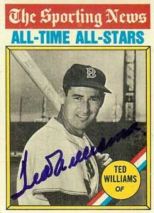 Ted Williams Autograph on a 1961 Topps (#347)