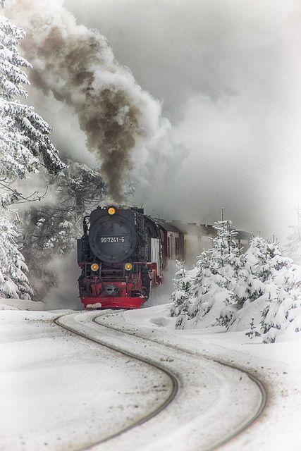 Harz Steam Train, Brockenhaus, Saxony-Anhalt, Germany...