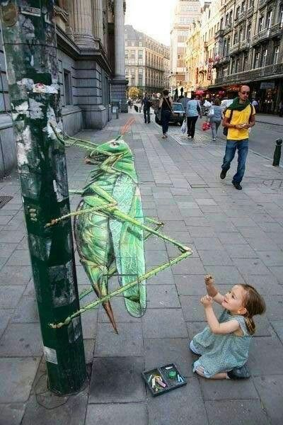 Cricket 3D street art (great, amazing, beautiful, cool, interesting, creative) awesome.