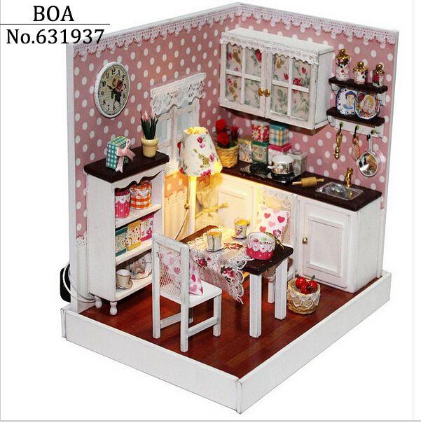 Dollhouse casa de boneca em miniatura Diy 3D de madeira caseiro montado Model Building Kits presente - delicioso tempo brinquedo