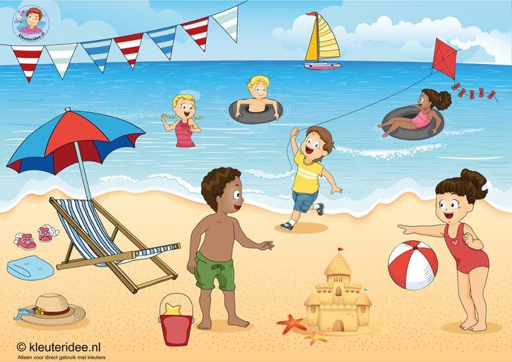 Interactieve praatplaat, thema zomer, strand en zee, voor kleuters by juf Petra, kleuteridee.nl