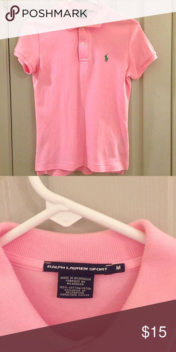 Light Pink Polo Shirt 💕 Light, almost salmon colored, pink collared Ralph Lauren Sport Polo shirt with green horse! It has just been sitting in my closet. I've worn maybe three times! Polo by Ralph Lauren Tops Button Down Shirts