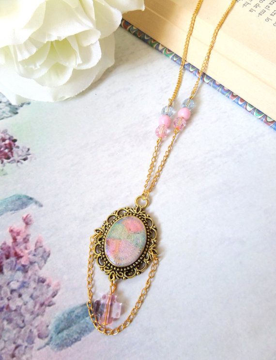Pastel Cameo Necklace, Pastel Goth Cameo, Victorian Necklace, Fairy Kei Jewelry, Lolita Necklaces with Cross, Kawaii Pastel Jewelry Harajuku