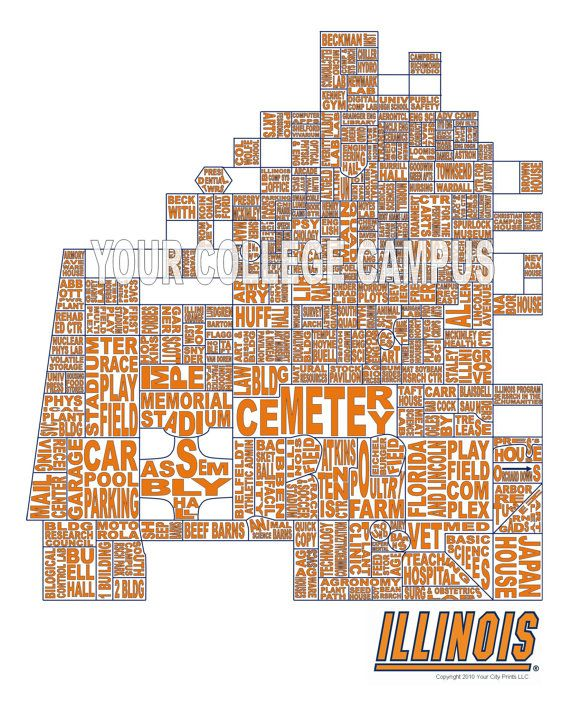 University Of Illinois Word Map Art By Whatsyour20 On Etsy 25 00