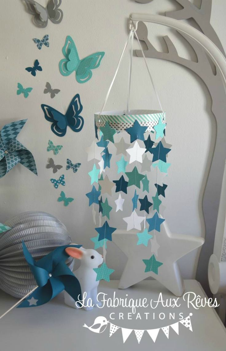 Mobile toiles b b gar on turquoise cara be p trole blanc for Decoration chambre bebe turquoise et gris