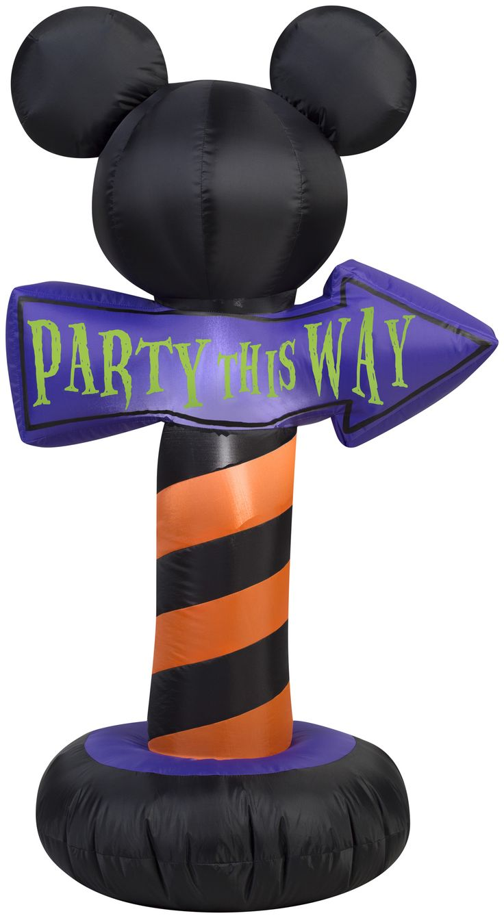 3 1/2 Foot Airblown Mickey Ears with Party This Way Sign Halloween Inflatable - Great indoor or outdoor decoration for a Halloween party or get together to guide guests.