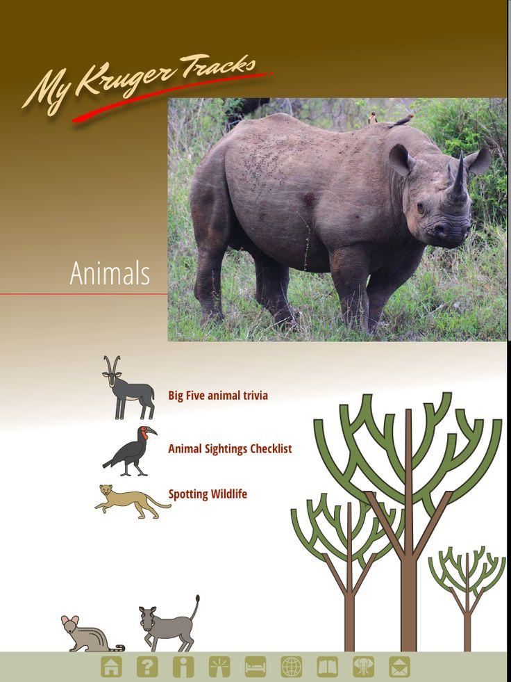 Animals page from Kruger Tracks app #krugertracks