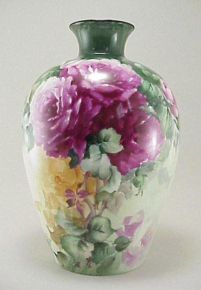 "380: Antique Limoges France 12"" HP Roses Porcelain Vase : Lot 380:"