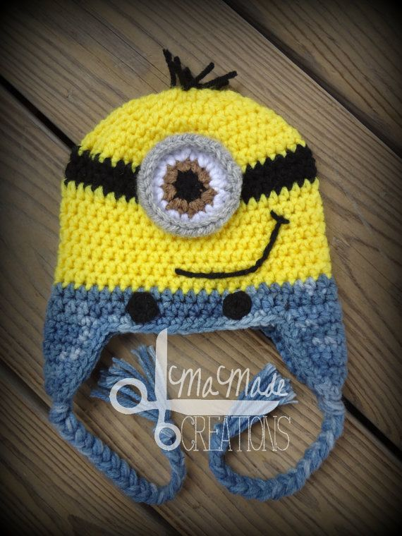 03 Month Size Minion Crochet Hat READY TO SHIP by MaMadeCreations, $16.50