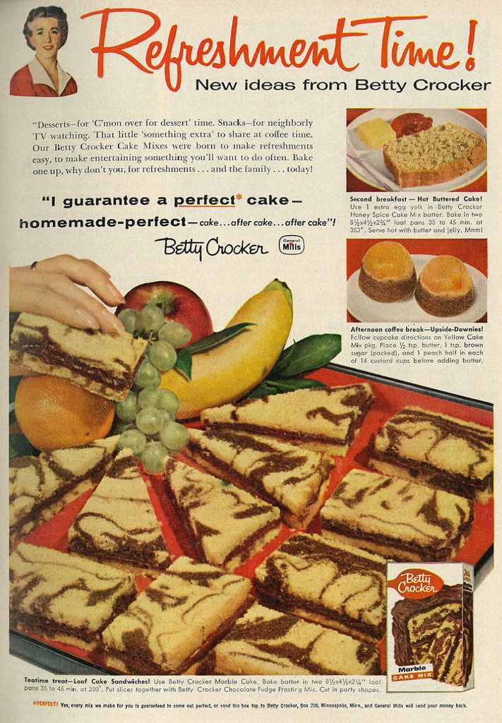 1958 Food Ad, Betty Crocker Cake Mixes Featuring Three Recipes ...