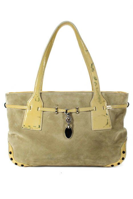 56f217ed9b Tods Beige Yellow Suede Patent Leather Contrast Belted Tote Handbag   fashion  clothing  shoes  accessories  womensbagshandbags (ebay link)