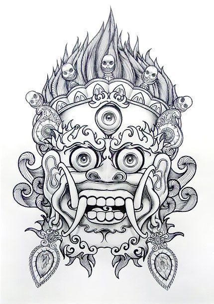 Chinese lion or Imperial guardian tattoo design.