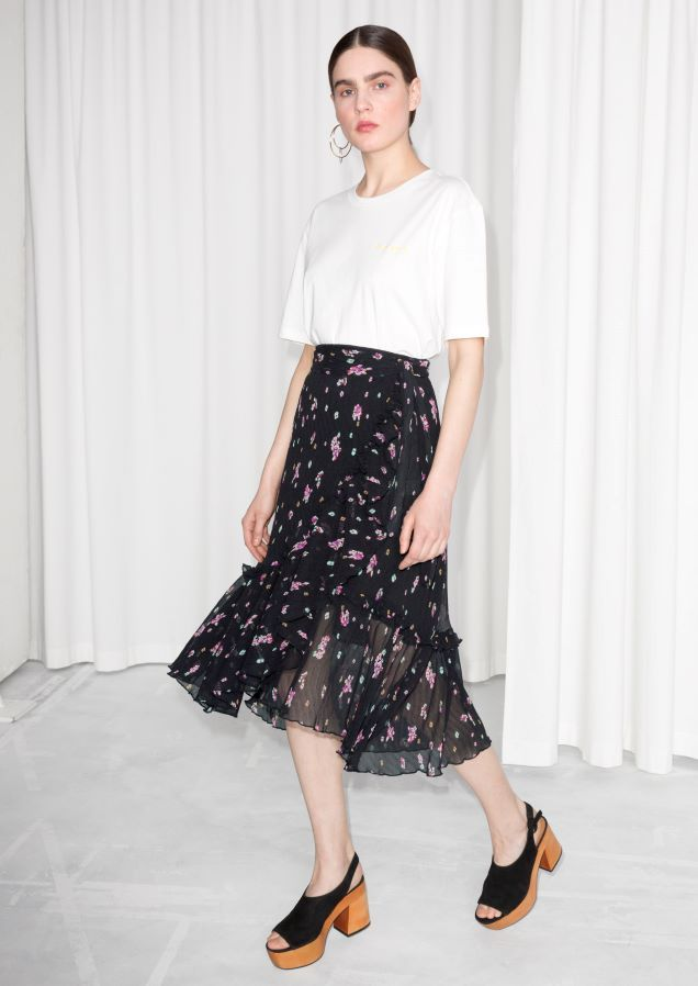 Other Stories image 1 of Sheer Floral Ruffle Midi Skirt in Black ... 75e9753be