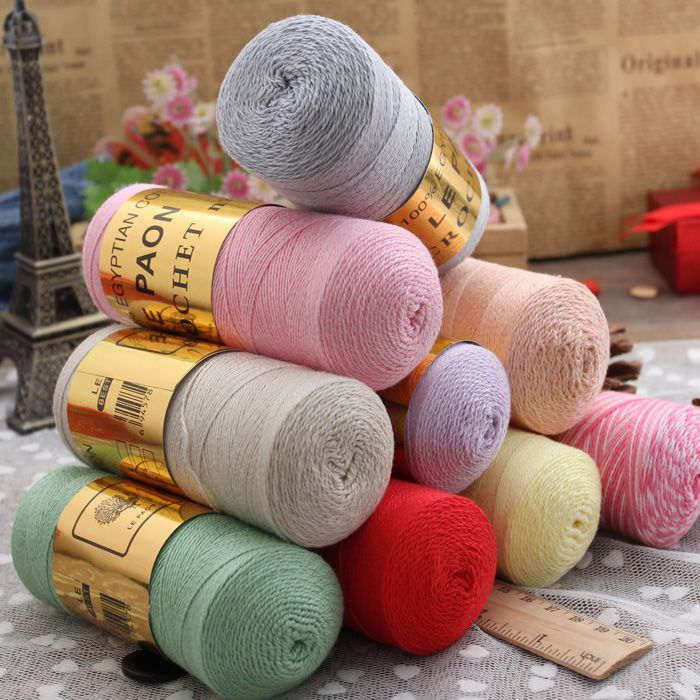 Бесплатная доставка высокое качество лето 5 # хлопчатобумажной пряжи для вязания, 2 шт. 170 г/пакет, 1.75 мм -- 2.25 мм крючки, 35 цветов
