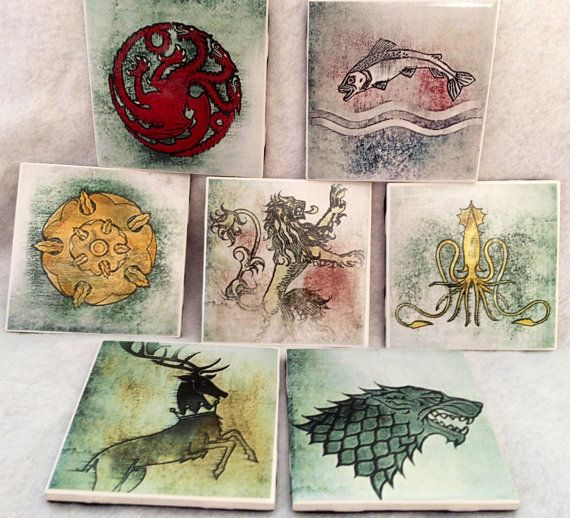 Game of Thrones Coasters Set of Six Ceramic by BaublesAndKitsch, $20.00