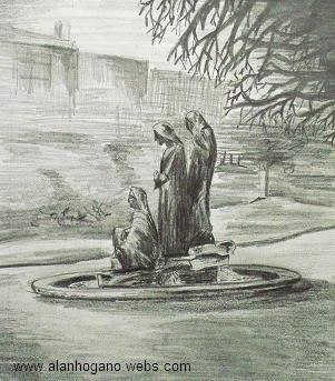 'The Three Fates' Dublin, Ireland. - pencil sketch. #art #dublin #ststephensgreen #drawing #sketch #pencil #pencildrawing #nagohnala
