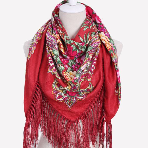 ZA Brand Woman Fashion geometric Print Square Scarf Warm Winter Cashmere Fringed Blanket Scarf Shawl ladies Scarves