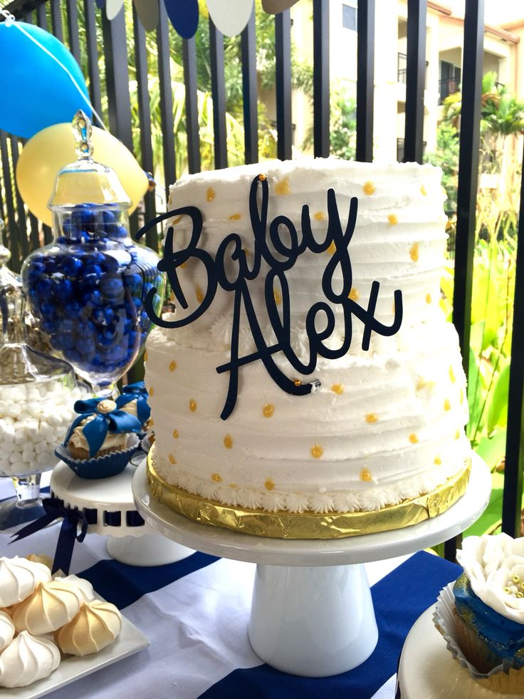 cake toppers shower inspiration blue gold baby cakes baby shower