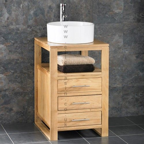 Cube Solid Oak Three Drawer Bathroom Basin Cabinet www.clickbasin.co.uk  only £299 fo Cabinet - Basin - Tap - Waste & Delivery