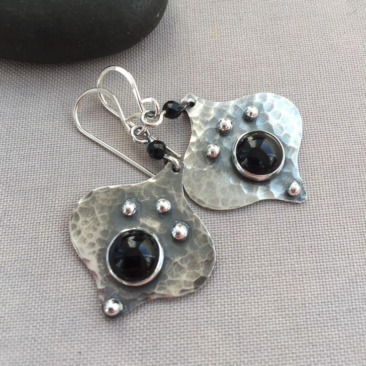 Oxidized Silver Earrings with Black Onyx.
