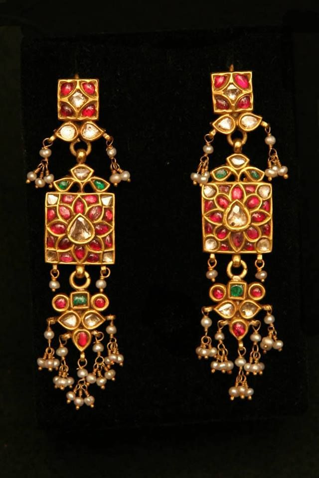 """ETHNIC JEWELLERY AND ADORNMENT"": Old Indian Earrings, 22K gold, ruby, emerald, diamond, pearl Age: 19th century Dorian Rae Collection"