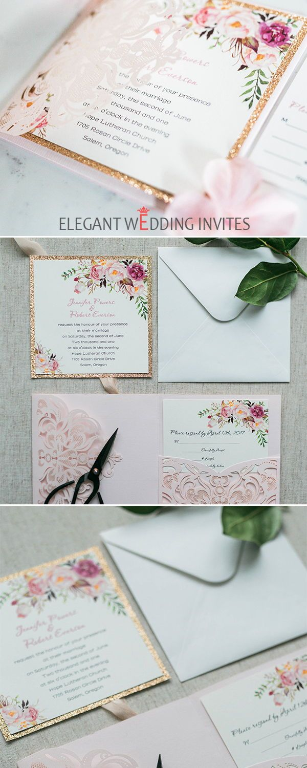 Romantic blush pink spring flower glittery laser cut pocket wedding invitation kits EWWS201 #pinkweddinginvitations