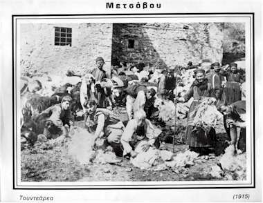 Shearing sheep in Metsovo - 1915
