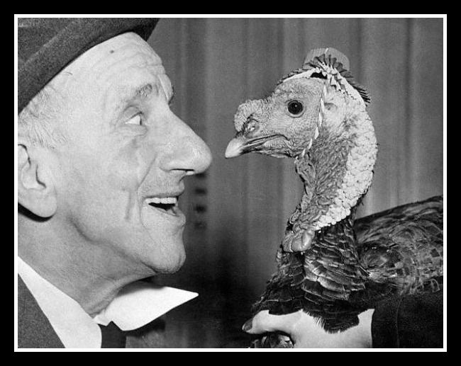 The Great Jimmy Durante Compares Schnozes With A Thanksgiving Turkey