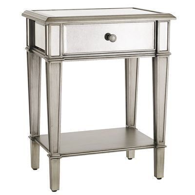 Hayworth Nightstand - Silver. I have an extra one of these tables and I if you like it I thought we could use it with the blue chairs in the living room with a nice lamp on top.