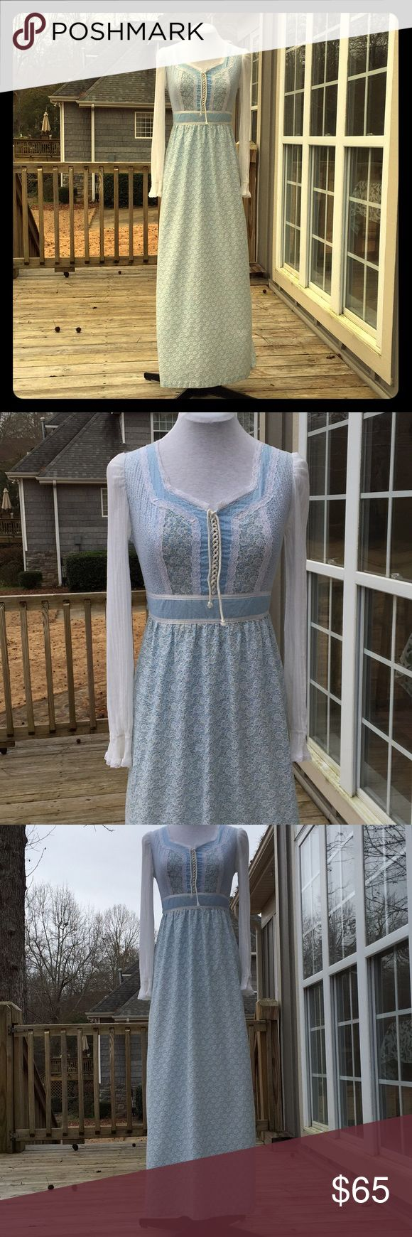 Vintage Blue Prairie Festival Dress Size XS-Small Beautiful 1970s vintage dress. Multi patterned blues and white with lace embellishments and sheer gauze sleeves. Front lace up corset style bodice with sweetheart neckline. Back zipper, ties in the back. Size extra small to small. Similar to peasant dresses by Gunne Sax, Jessica McClintock. Vicky Vaughn Dresses Maxi