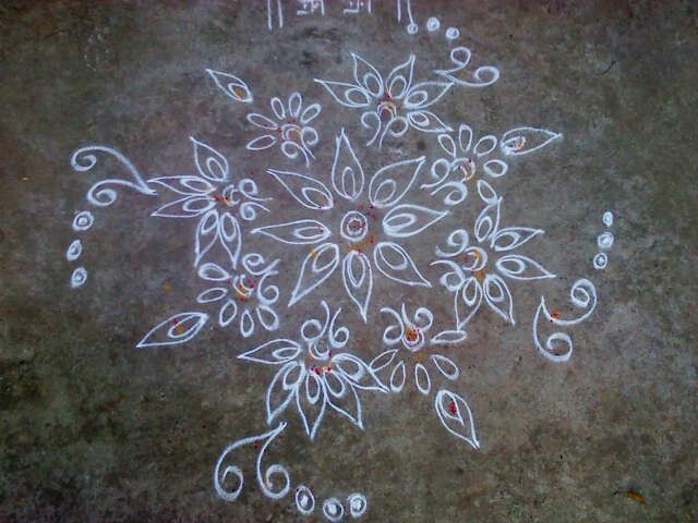 A floral design Rangoli.