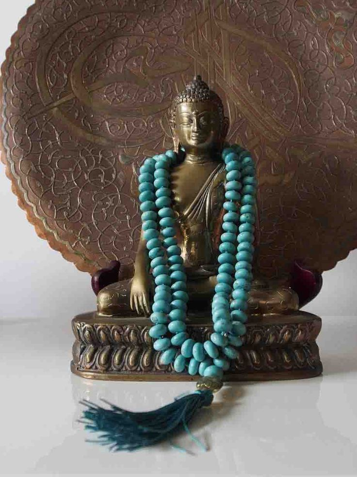 Sally McBride Design BLUE TURQUOISE Mala comprised of 108 beads 8mm diameter abacus shaped with a gol