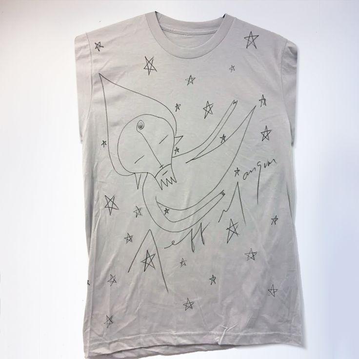 Hand drawn T-shirt from the Neutral Milk Hotel tour 2014/15 Sweatshop-free