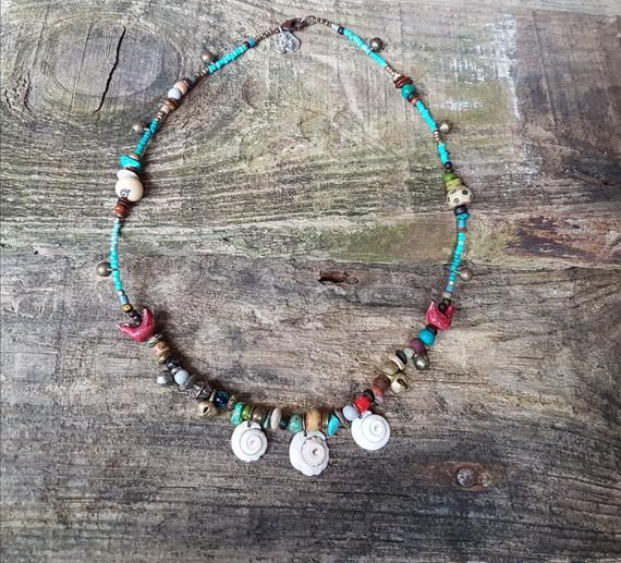 Gypsy Necklace Earthy Bohemian Jewelry Tribal Shells Bead Jewellery Natural Boho Beads Bells Psy Fes