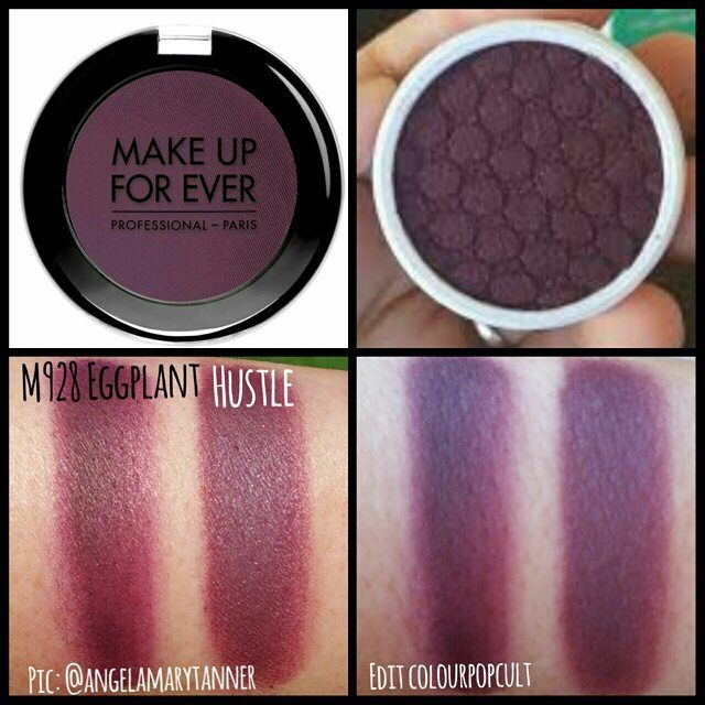 Dupes: Makeup Forever  EGGPLANT M980 and colourpop hustle i have wanted the muf one forever just ordered colour pop so excited