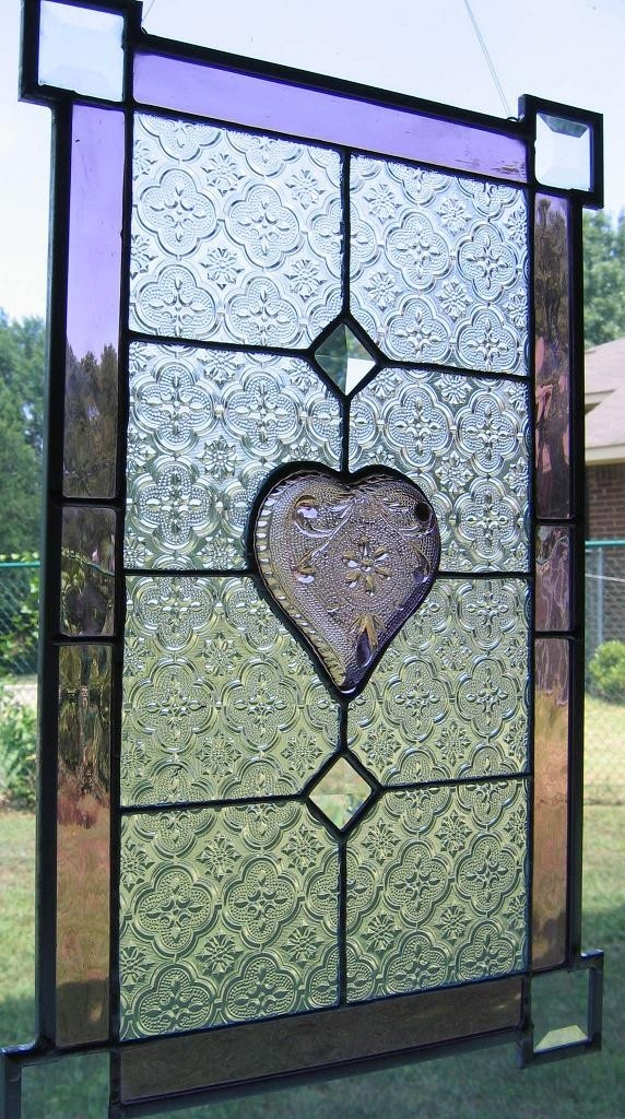 Purple Heart Stained Glass Panel