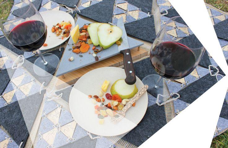 tri dining (2013) textile / object design // by Sydney designer Alexandra Hall.  c. contemporary picnic basket, picnic bag, outdoor dining, picnic
