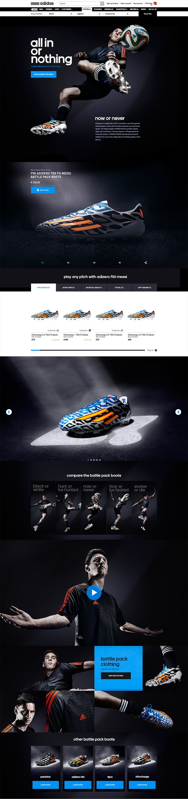 Addidas All In website featuring Lionel Messi #webdesign #worldcup