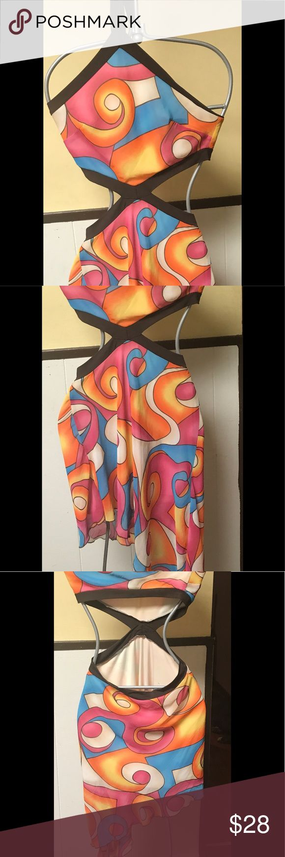 Hot Summer medium club dress Medium Summer handkerchief club dress brown edges with hot pink and orange  colors worn once. Looks awesome with a tan and a night out dancing salsa Dresses Asymmetrical