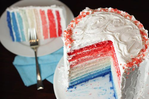 This gorgeous, ombre cake is quite the stunner for any patriotic holiday! And, not just beautiful; with all of those layers you can really feed a crowd. You could even stick a mini American flag into the top of the cake or decorate the outside with fresh blueberries and strawberries for that finishing touch. Just …