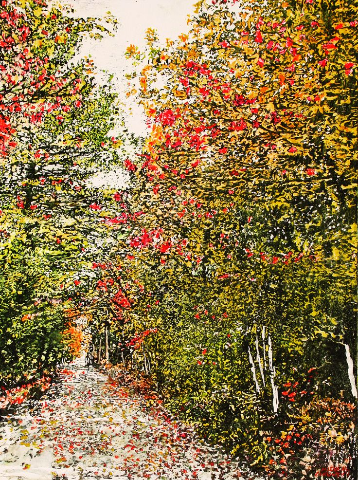 "road thru fall 26 36"" x 24""  micheal zarowsky mixed media (watercolour / acrylic painted directly on gessoed birch panel) / private collection"