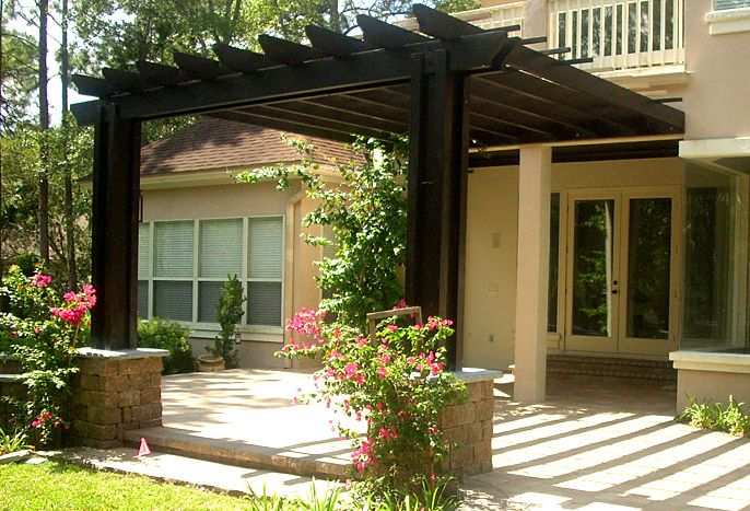 Pergola Designs Attached to House | Attached Pergolas/like dark colored wood