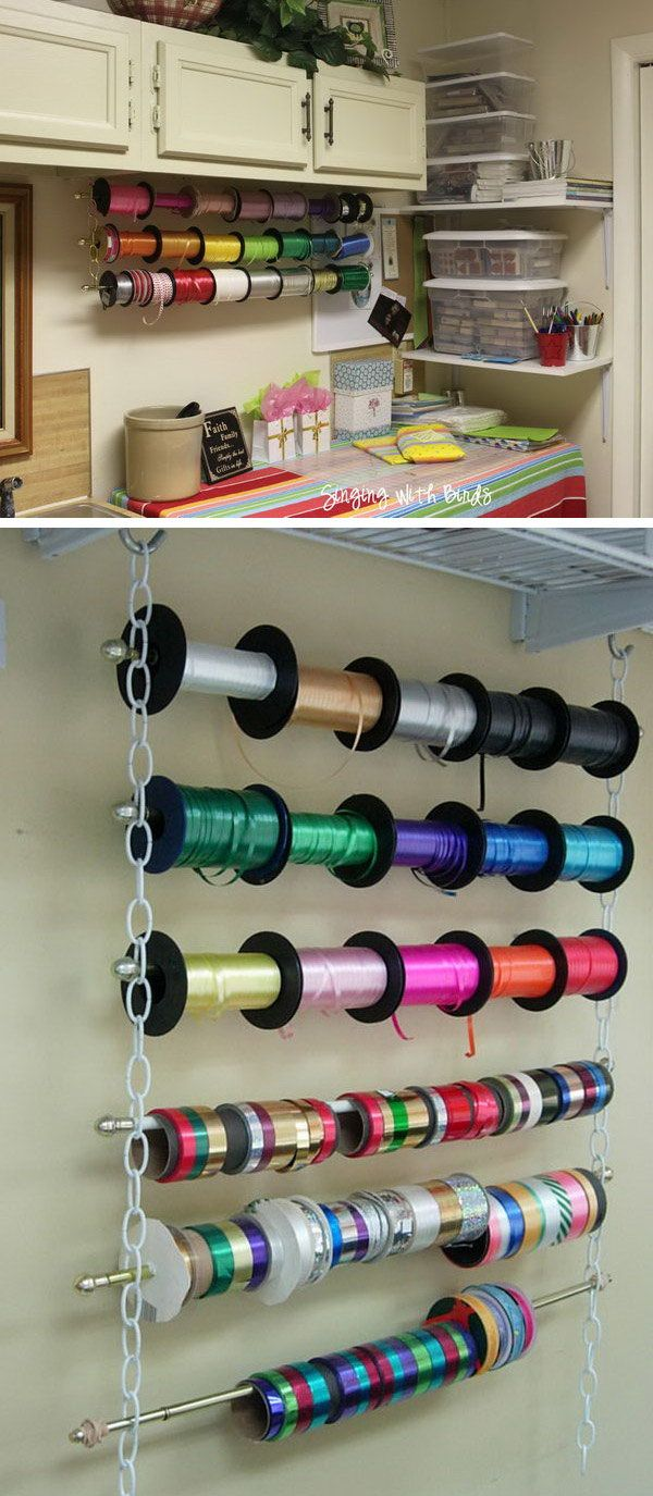 Make a wrapping ribbon organizer with chains, cafe style curtain rods and hooks. It looks great and is so functional. http://hative.com/creative-wrapping-paper-storage-ideas/