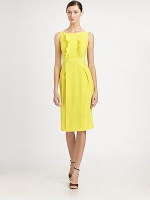 Boatneck + ruffles!: Ch Carolina, Mimosas Yellow, Yellow Color, Saab Carolina, Carolina Herrera, Style Pinboard, Ruffles Dresses, Perfect Yellow, Style Warm