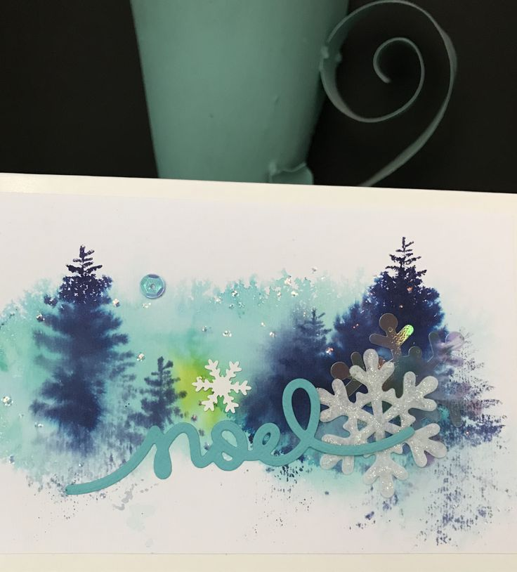 """Christmas card """"Noel"""" cold, winter...colours blue"""
