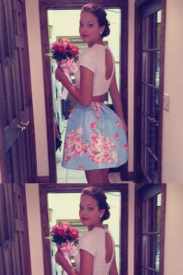 ad1730f883 Sexy Two Piece Floral Cocktail Homecoming Dress with Pearls ...