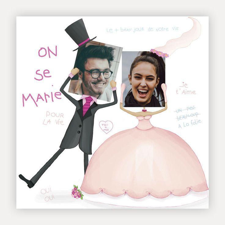 Faire part mariage pas cher Dessin humoristique de mariés avec photos d'ide