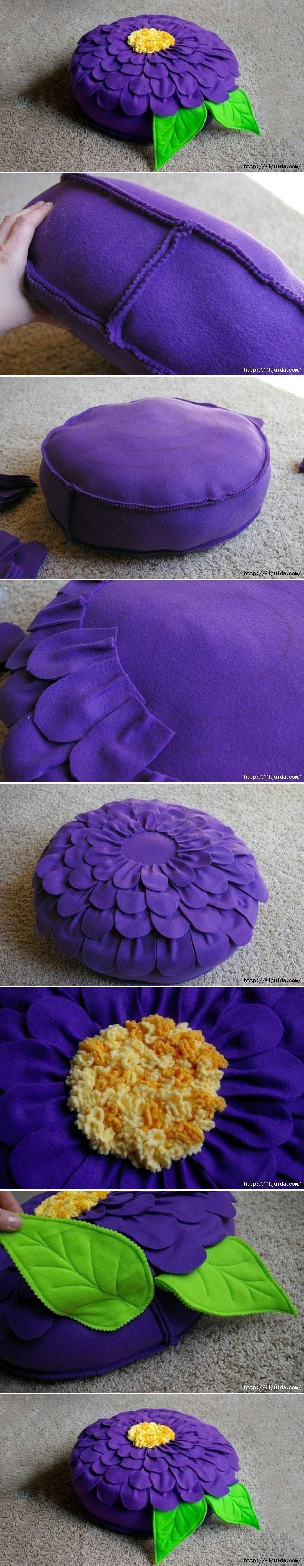 DIY Beautiful Flower Cushion almofada de flor