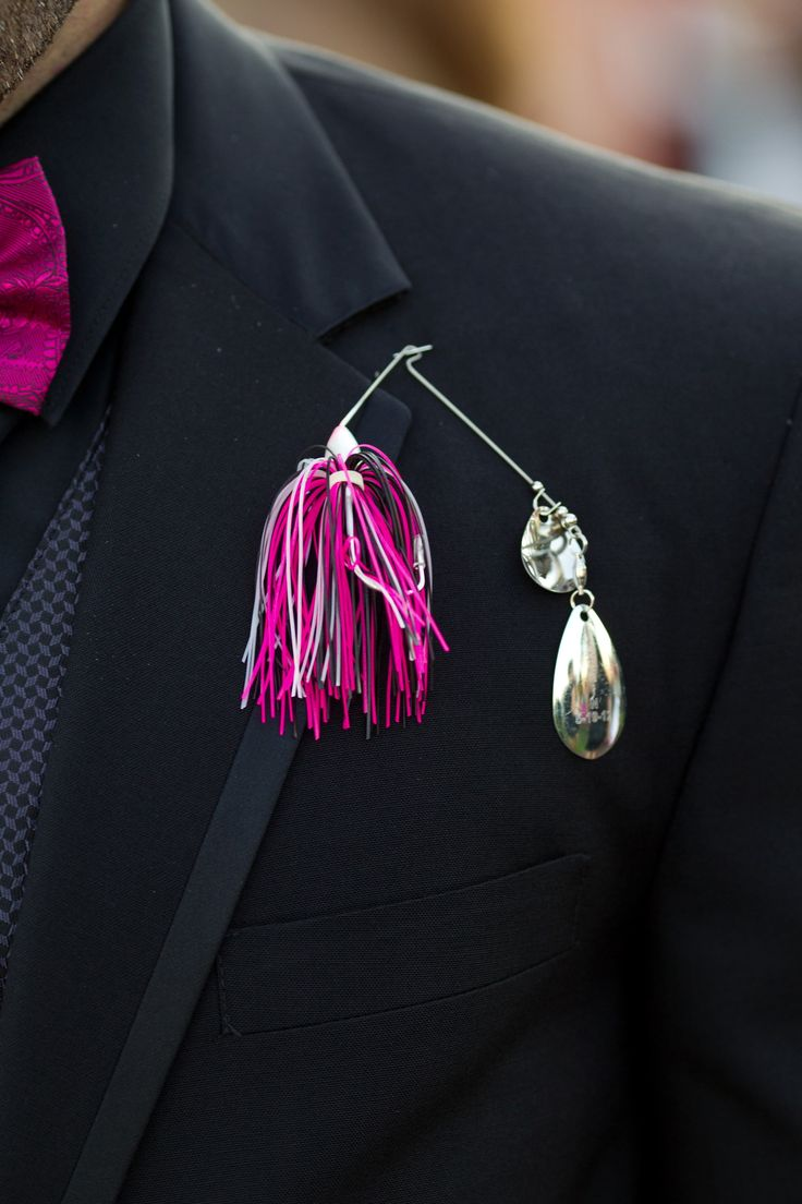 Boutineers: Bass Fishing Lures engraved add flower and colors to match wedding super cute