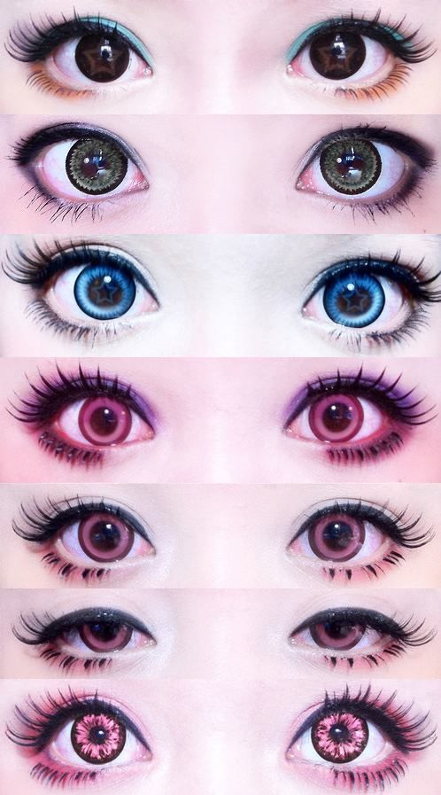 Sometimes pastel goth style incorporates different eye-color, or eye enlarging contact.